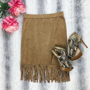 Artisan NY • Suede Fringe Skirt